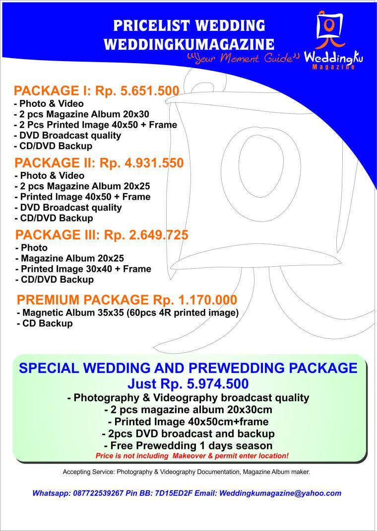 Pricelist Wedding Weddingkumagazine 2017