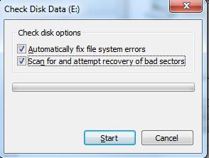 Tampilan Check Disk Data pada Win7